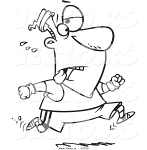 vector-of-a-cartoon-tired-man-jogging-outlined-coloring-page-by-ron-leishman-24750